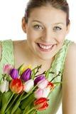 Donna con i tulipani Fotografia Stock Libera da Diritti