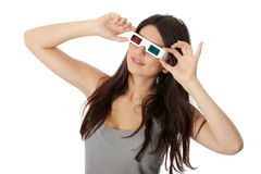 Donna con i vetri 3d Fotografia Stock