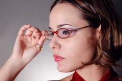 Donna con i vetri Fotografia Stock Libera da Diritti