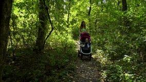 Donna con il bambino ed il passeggiatore che camminano nella foresta video d archivio