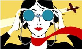 Donna con il binocolo Immagine Stock