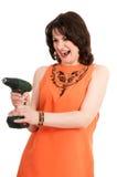 Donna con il cacciavite Fotografie Stock Libere da Diritti