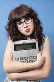 Donna con il calcolatore Immagine Stock