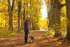 Donna con il cane nella sosta di autunno fotografie stock