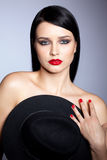 Donna con il cappello Fotografia Stock