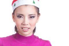 Donna con il cappello di natale Immagine Stock Libera da Diritti