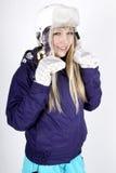 Donna con il casco Fotografia Stock