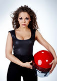 donna con il casco del motociclista Fotografie Stock