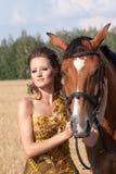 Donna con il cavallo Fotografie Stock