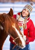 Donna con il cavallo Immagine Stock