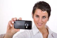 Donna con il cellulare Fotografia Stock