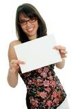 Donna con il certificato Fotografia Stock