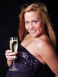 Donna con il champagne dello sylvester Fotografia Stock