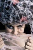 Donna con il cobweb del ragno Fotografia Stock Libera da Diritti