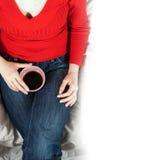 Donna con il cofee Immagini Stock