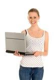 Donna con il computer portatile Fotografia Stock