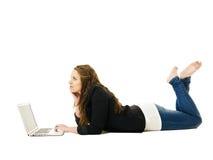 Donna con il computer portatile Fotografie Stock