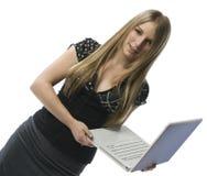 Donna con il computer portatile Fotografia Stock Libera da Diritti