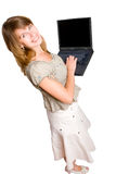 Donna con il computer portatile sopra bianco, dalla vista di angolo superiore Fotografia Stock