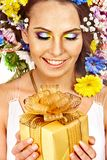 Chiuda su compongono con il fiore. Immagini Stock Libere da Diritti