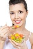 Donna con il dessert della frutta Immagine Stock Libera da Diritti