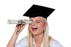 Donna con il diploma Fotografia Stock Libera da Diritti