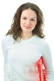 Donna con il dispositivo di piegatura per il documento Immagini Stock Libere da Diritti