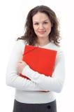 Donna con il dispositivo di piegatura rosso per i documenti Fotografia Stock Libera da Diritti