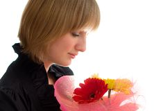 Donna con il fiore Fotografie Stock Libere da Diritti
