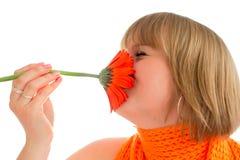 Donna con il fiore Immagini Stock Libere da Diritti