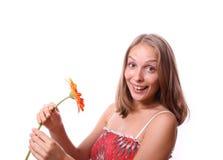 Donna con il fiore, isolato Fotografie Stock Libere da Diritti