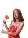 Donna con il fiore, isolato Fotografia Stock Libera da Diritti