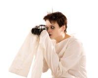 Donna con il fotocamera fotografia stock