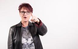 Donna con il fronte divertente Fotografia Stock Libera da Diritti