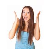 Donna con il fronte sorpreso di espressione Immagini Stock