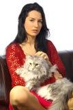 Donna con il gatto Fotografie Stock Libere da Diritti