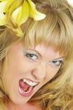 Donna con il giglio Fotografie Stock