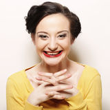 Donna con il grande sorriso felice Fotografia Stock