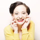 Donna con il grande sorriso felice Fotografia Stock Libera da Diritti