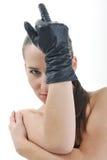 Donna con il guanto fotografia stock