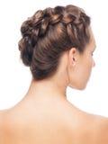 Donna con il hairdo della treccia fotografia stock libera da diritti