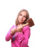 Donna con il hummer, isolato Fotografia Stock Libera da Diritti