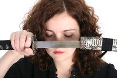 Donna con il katana Fotografia Stock Libera da Diritti