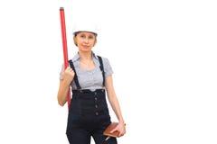 Donna con il levelmeter Immagine Stock