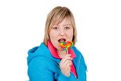 Donna con il lollipop immagini stock libere da diritti