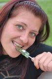 Donna con il lollipop Immagine Stock Libera da Diritti