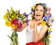 Donna con il mazzo del fiore. Immagine Stock Libera da Diritti