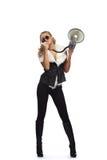 Donna con il megafone Fotografie Stock Libere da Diritti