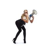 Donna con il megafone Immagine Stock Libera da Diritti