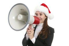 Donna con il megafono Immagini Stock Libere da Diritti